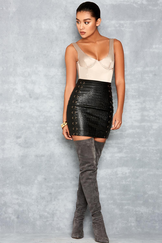 Misnomer Black Lace Up Vegan Leather Mini Skirt
