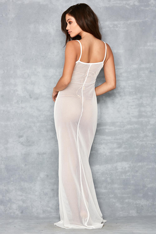 Gossamer\' White Sheer Fishnet Maxi Dress - Mistress Rocks