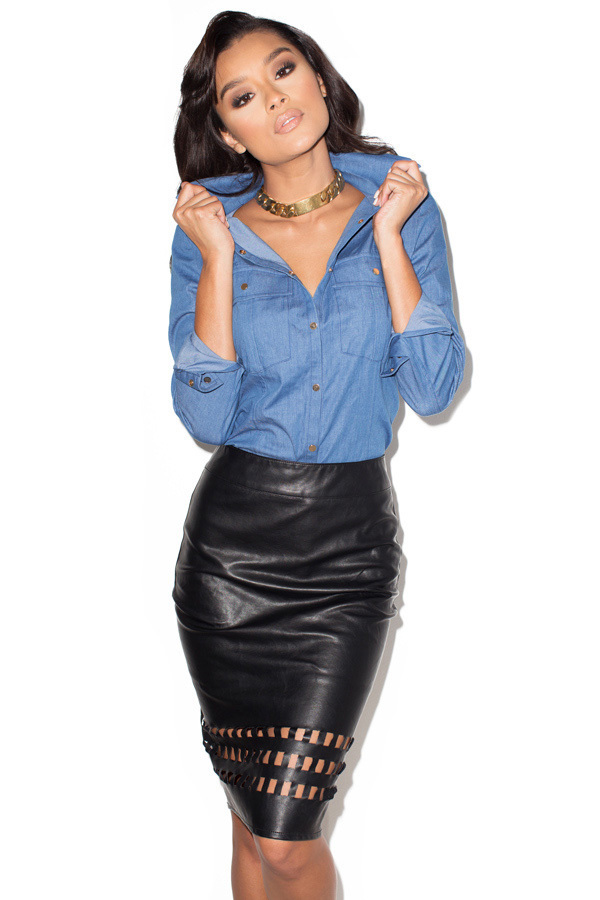 Voyeur Black Leatherette Pencil Skirt with Cut-out Design