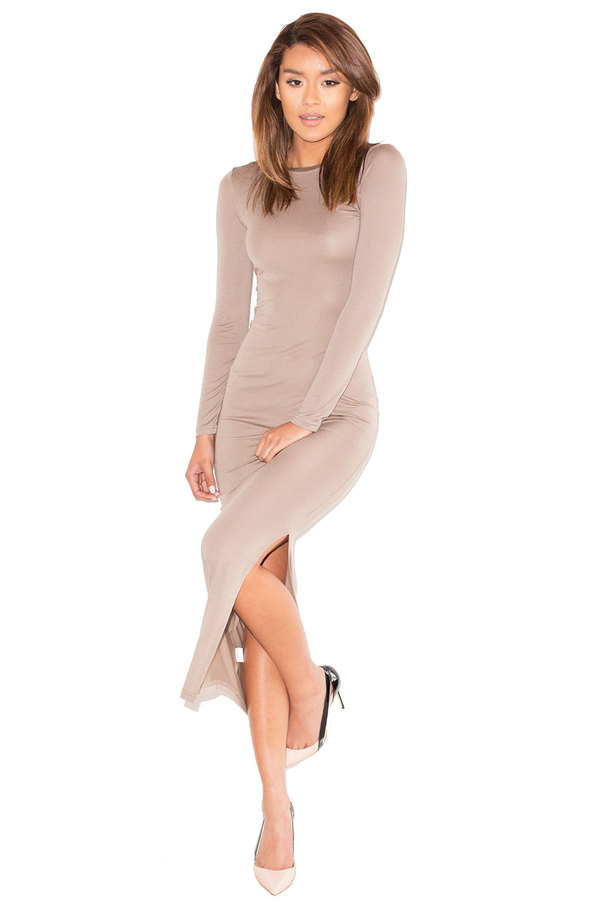 Curvature Taupe Long Sleeve Bodycon Maxi Dress
