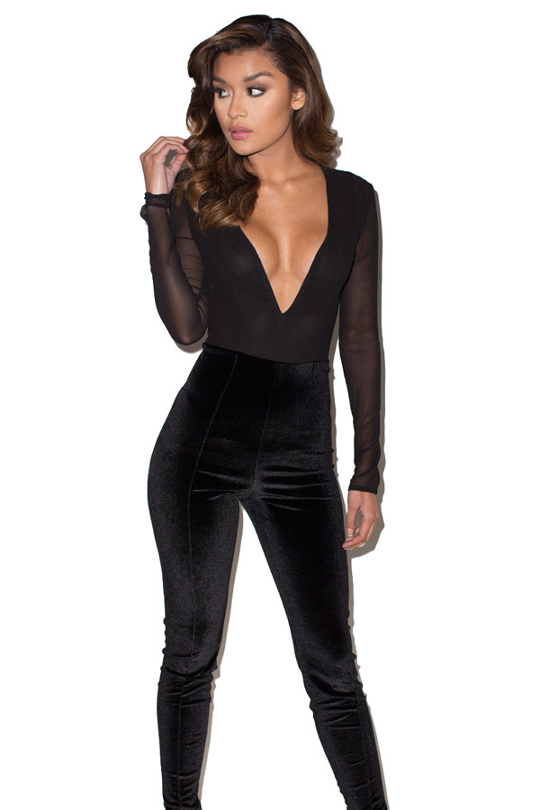 Feline Black Velvet Deep V Bodycon Jumpsuit