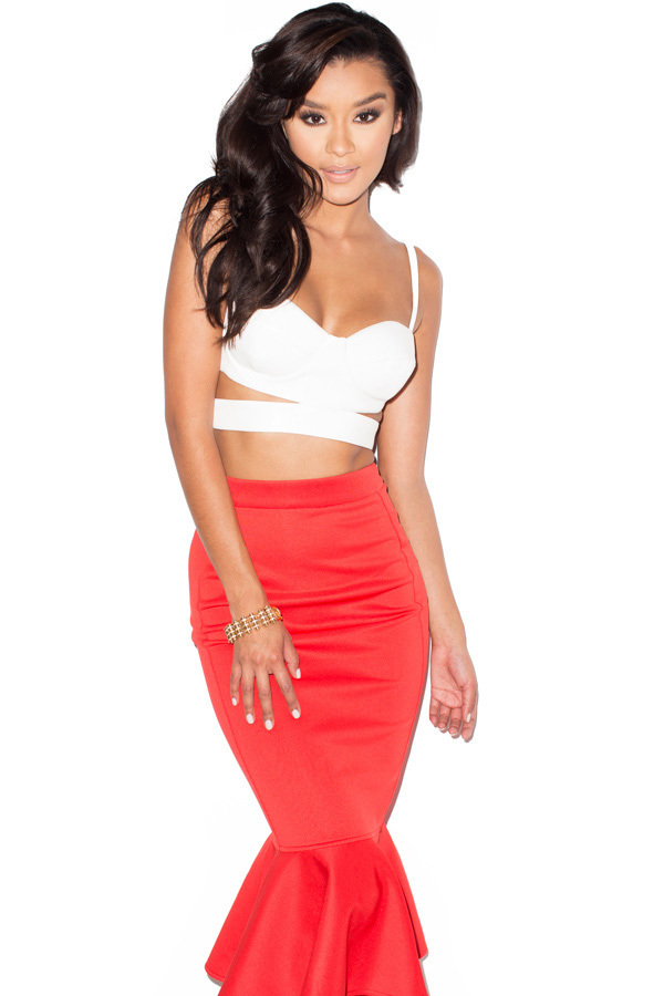 Laila Red Neoprene Midi Pencil Skirt with Fluted Hem
