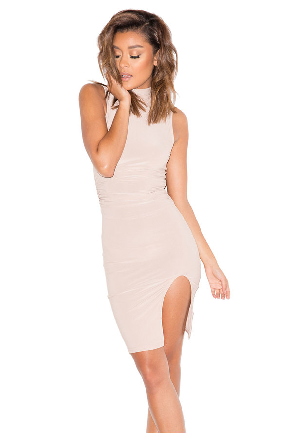Sinner Nude High Neck Thigh Split Dress
