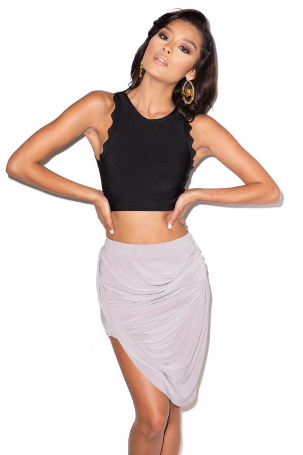 Tali Grey Jersey Draped Skirt