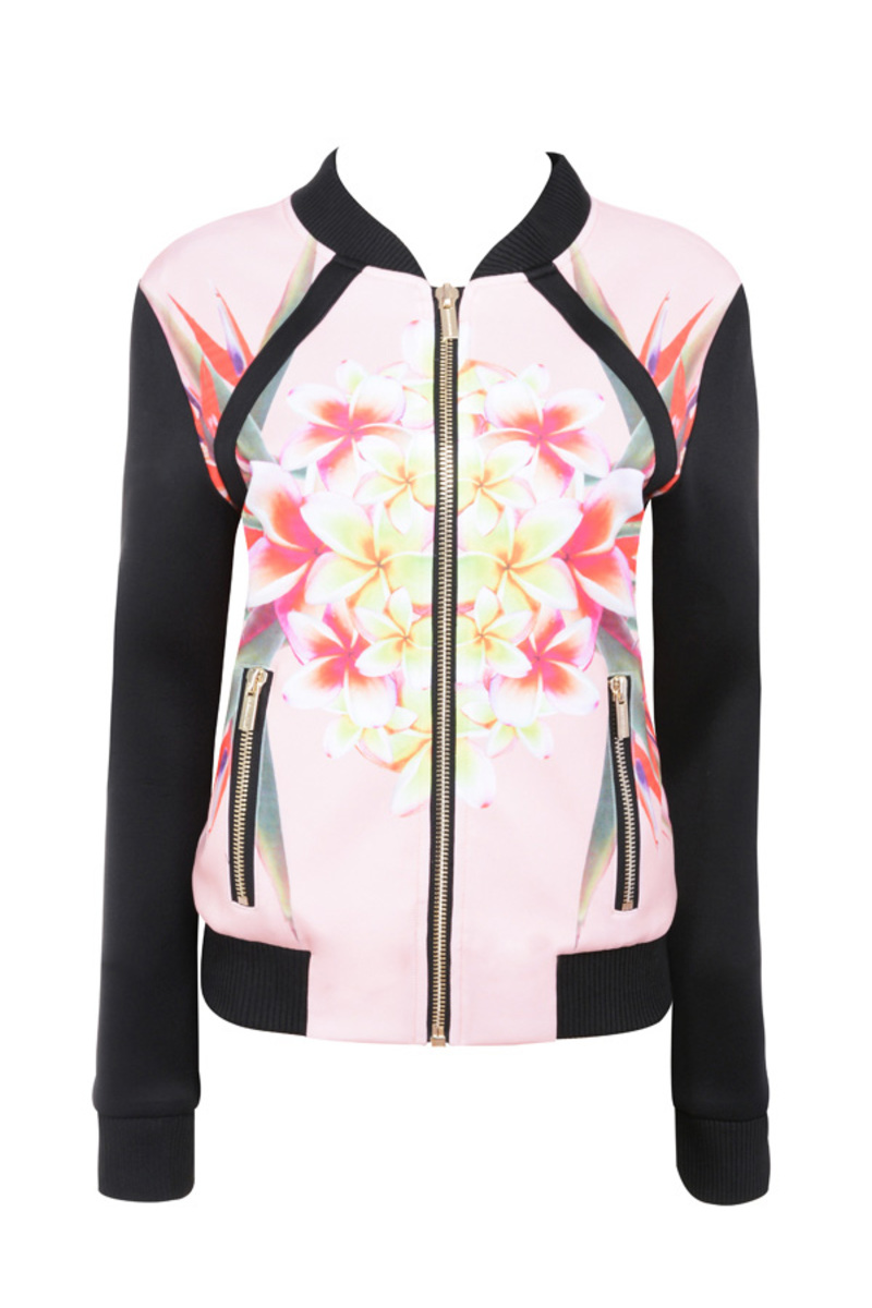 the flowerbomb bomber jacket in floral prints