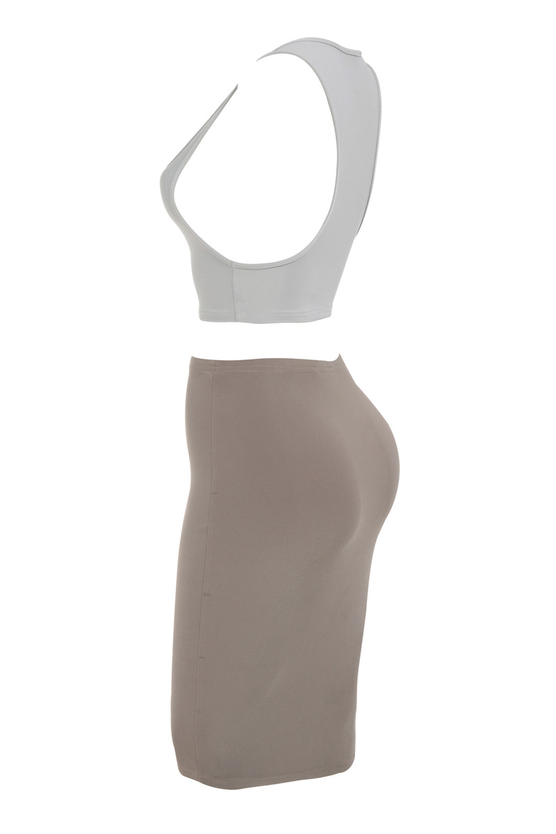 the get together two piece dress in grey and brown