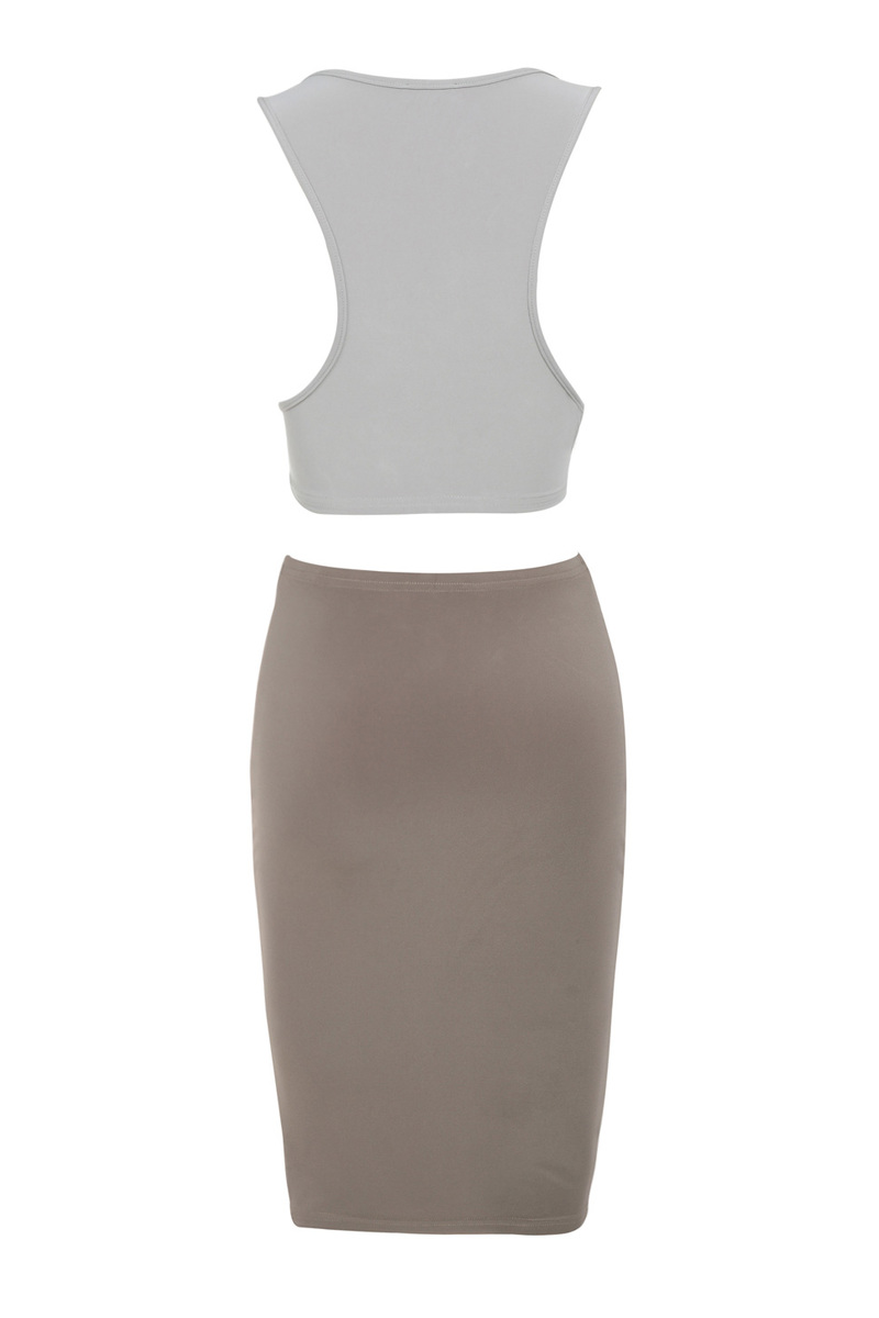 get togther dress in brown and grey
