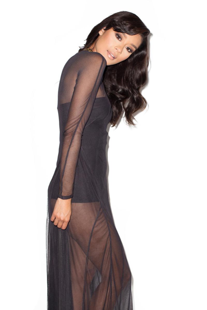 miss mesh black dress