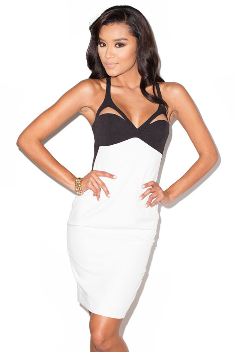 split second black and white pencil dress
