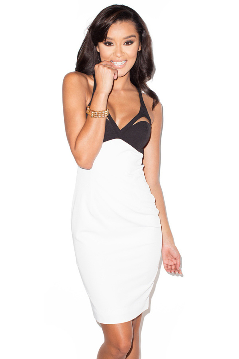Split Second Black and White Bustier Cage Dress