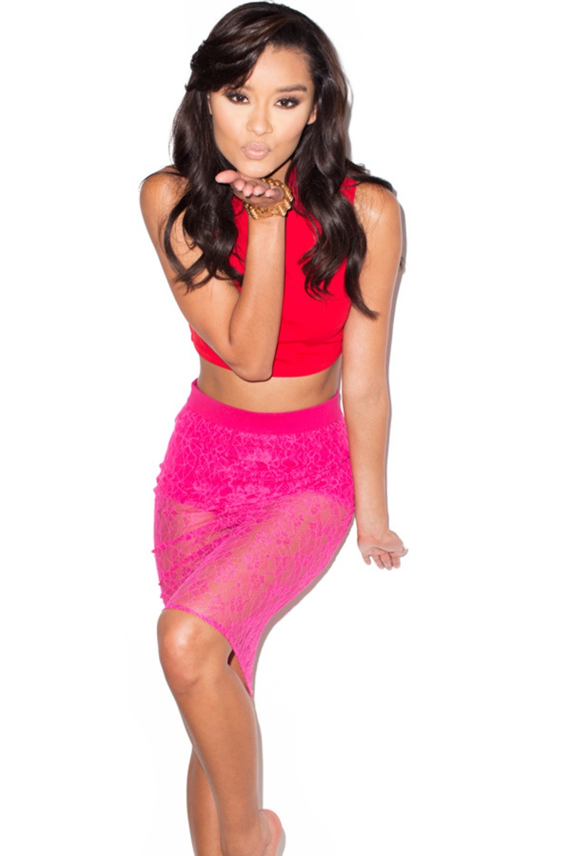 the sheer thing two piece in red and fuchsia