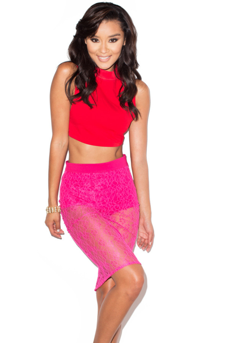 Sheer Thing Red + Fuchsia Lace Two Piece