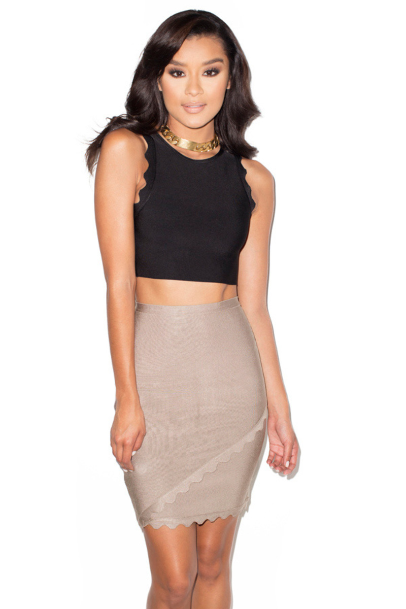 Adriana Black and Taupe Scalloped Edge Bandage Two Piece