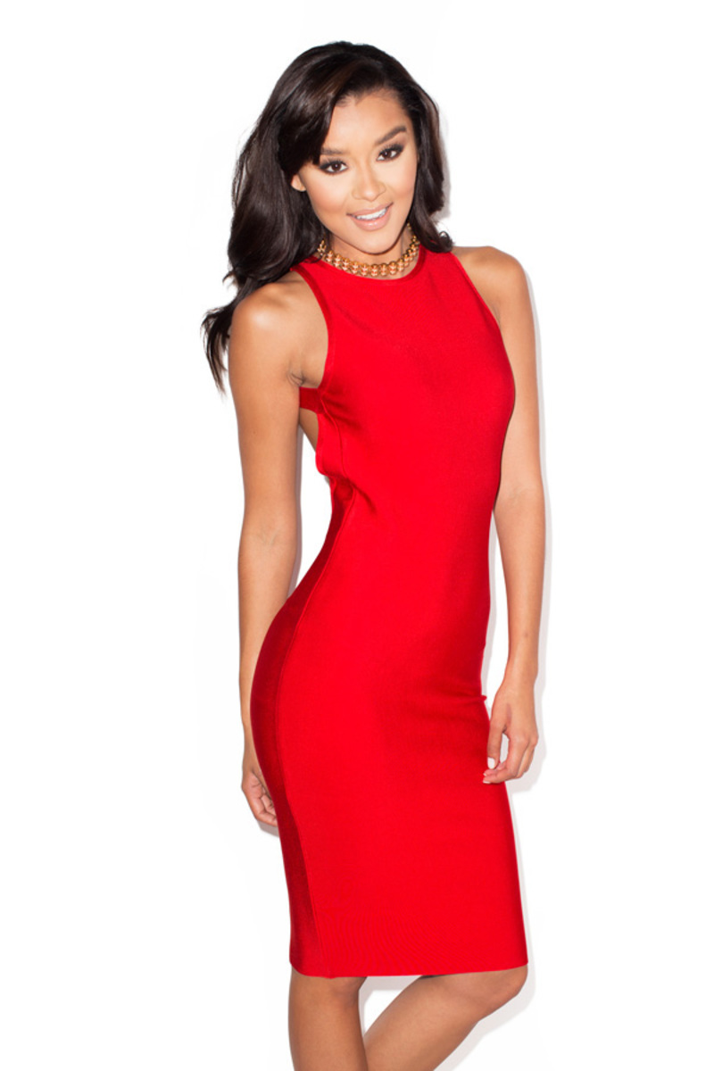 the angelique bandage dress in red
