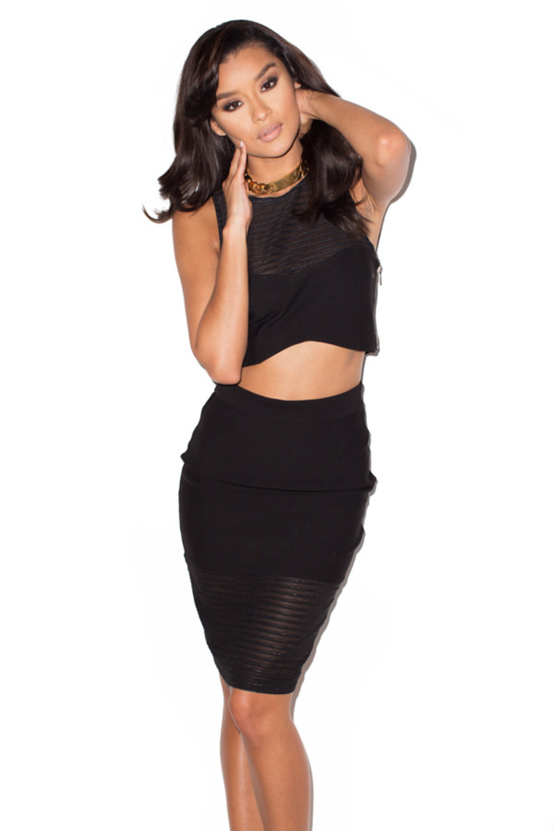 the bond girl two piece in black