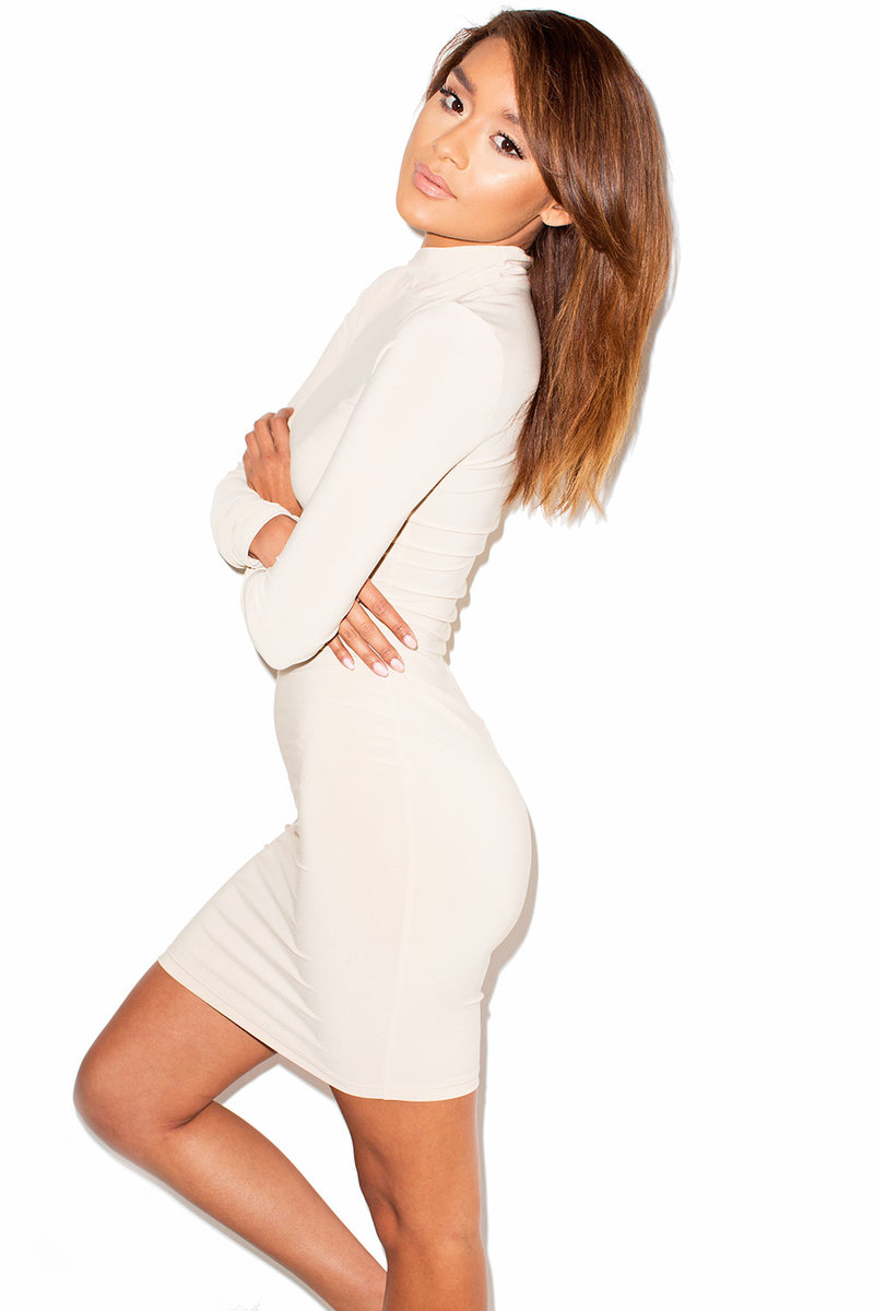 Capture Nude High Neck Long Sleeve Bodycon Dress