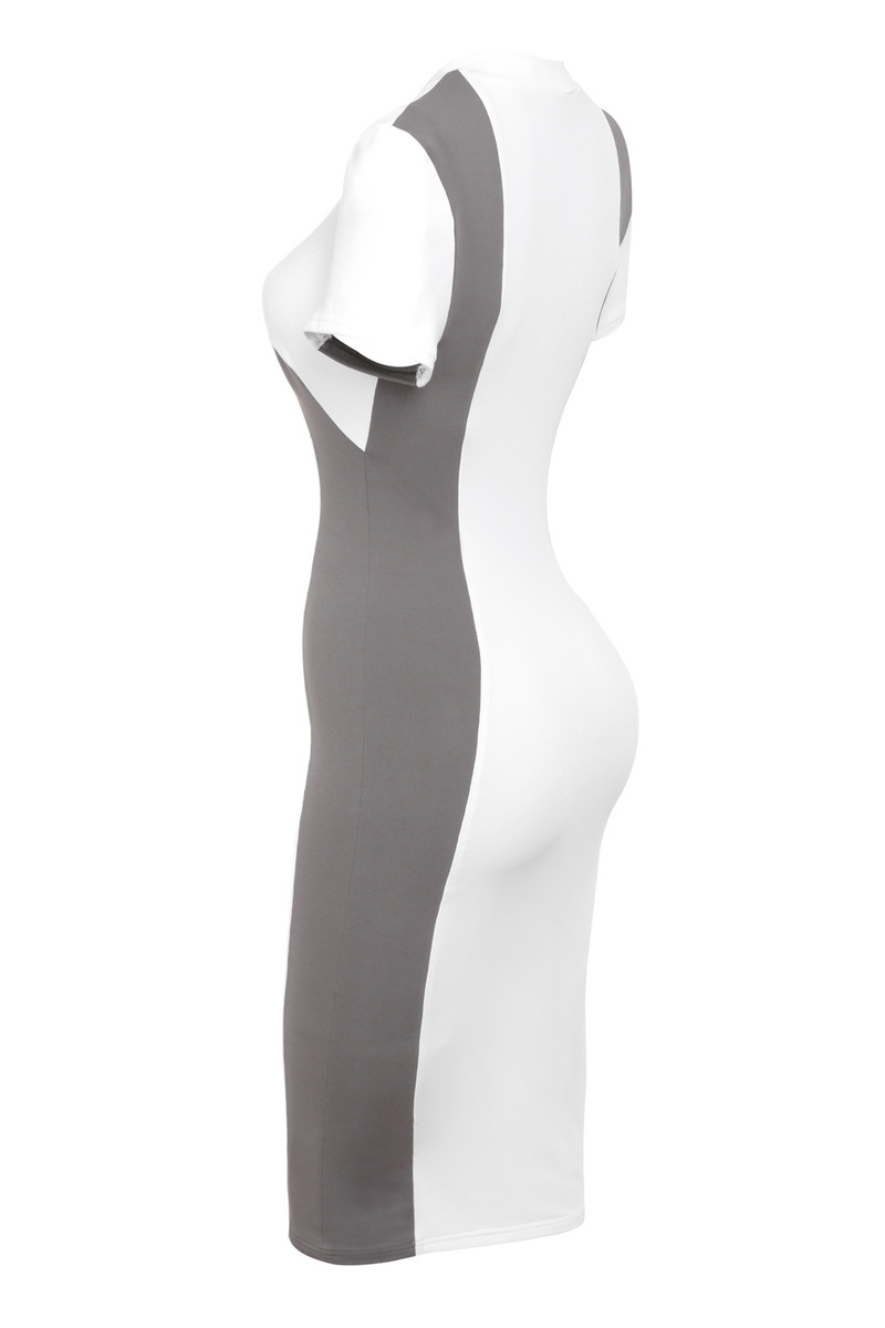 white and taupe bodycon dress