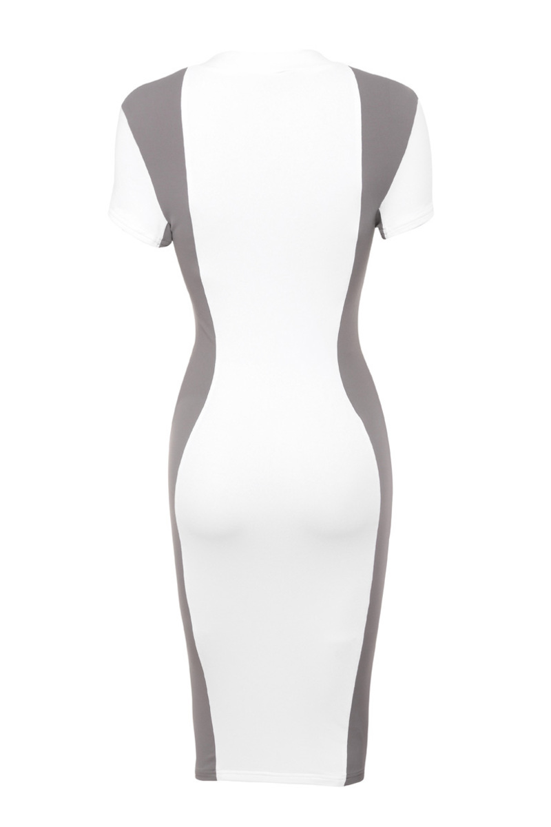 the curve ball dress in white and taupe