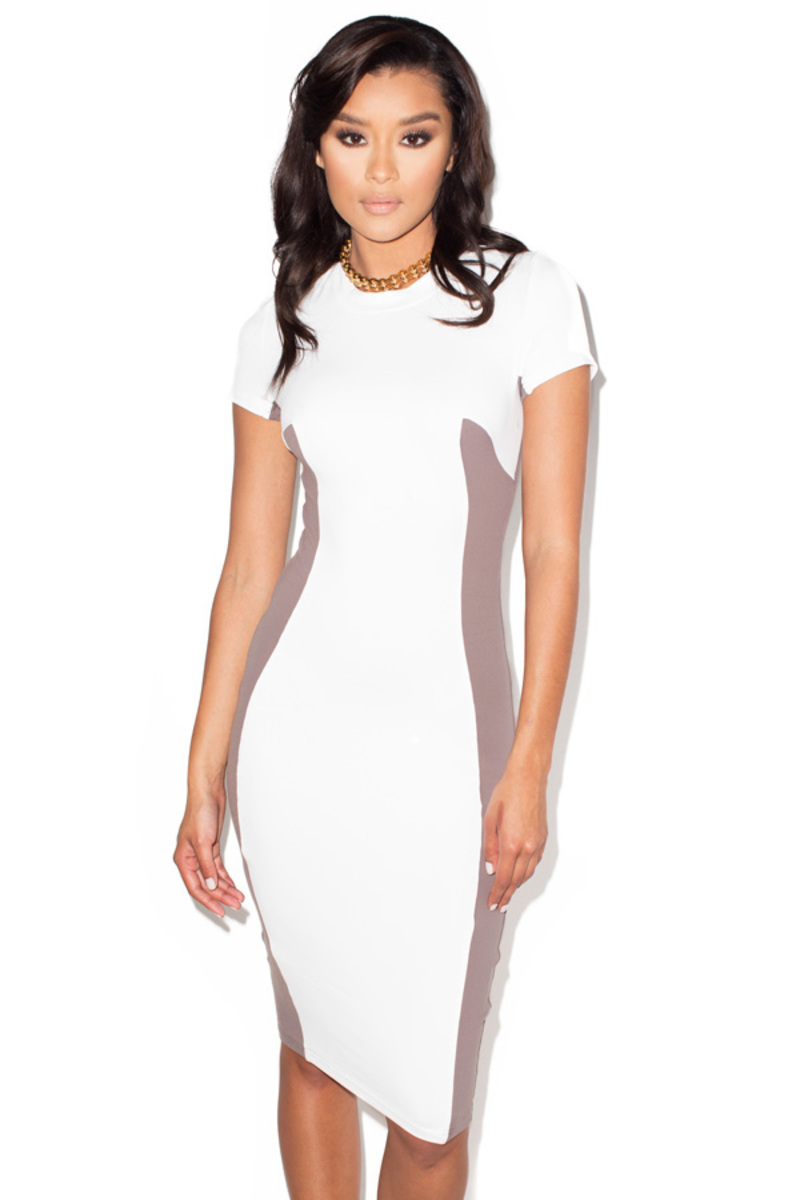 Curve Ball Taupe and White Bodycon T-shirt Dress
