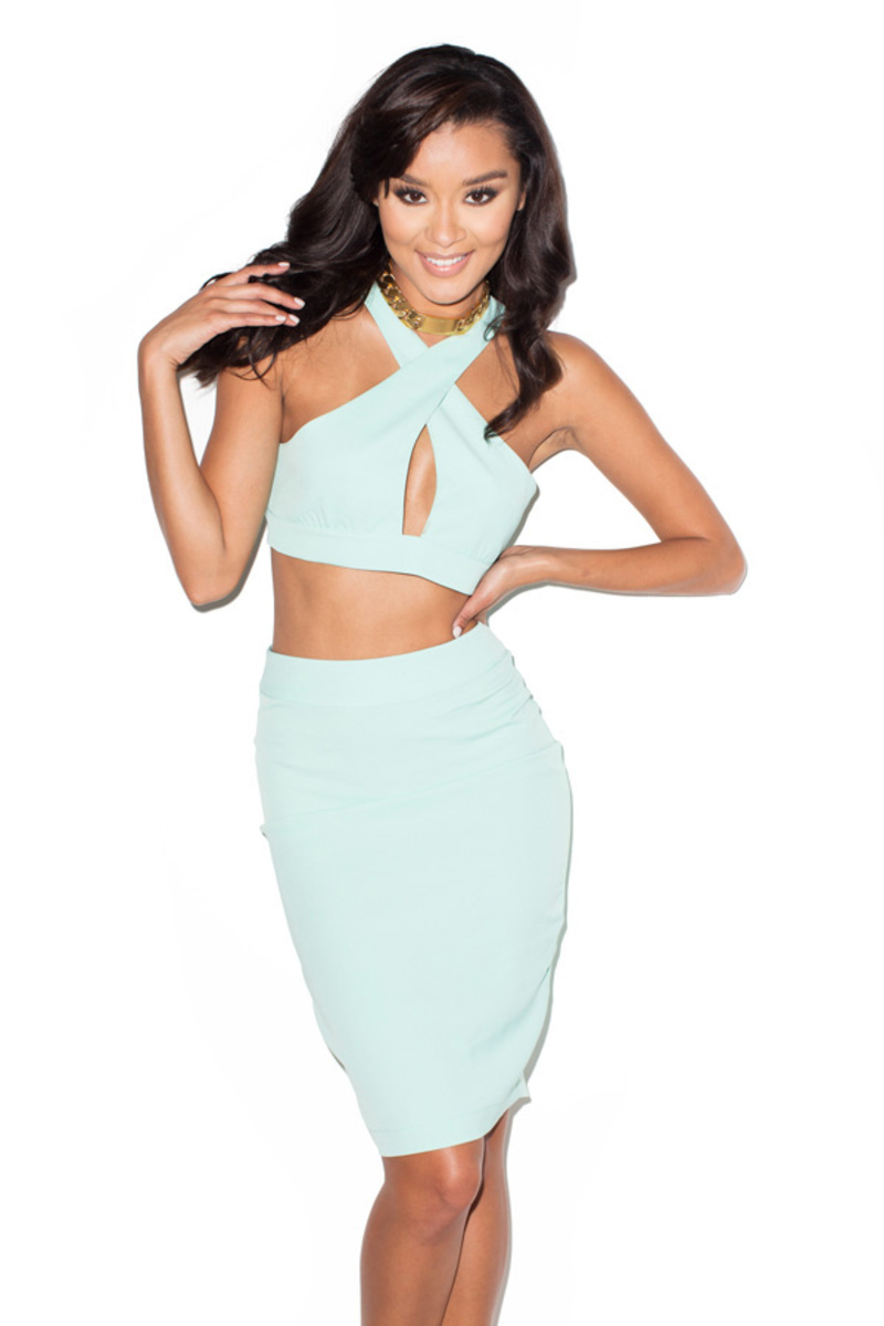 cut and run mint two piece dress