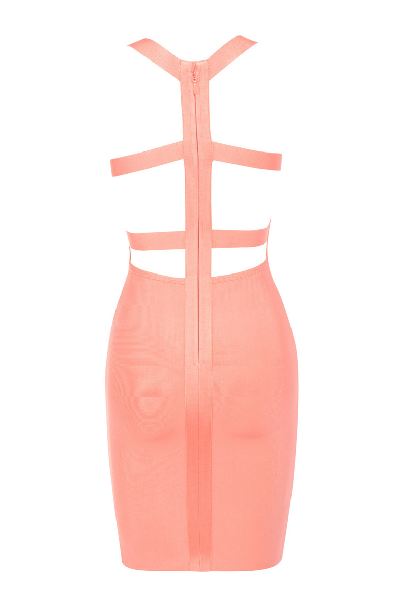 bandage dress in coral