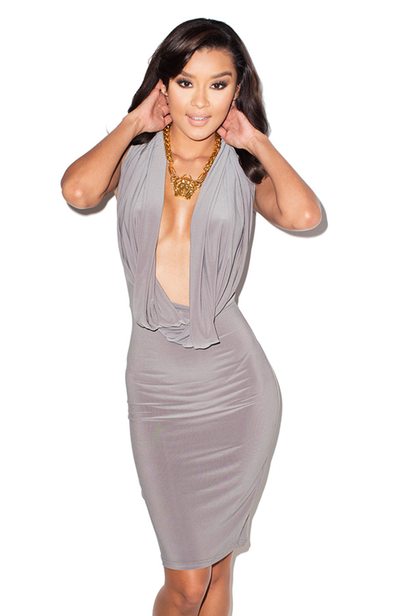 on the down low grey bodycon dress