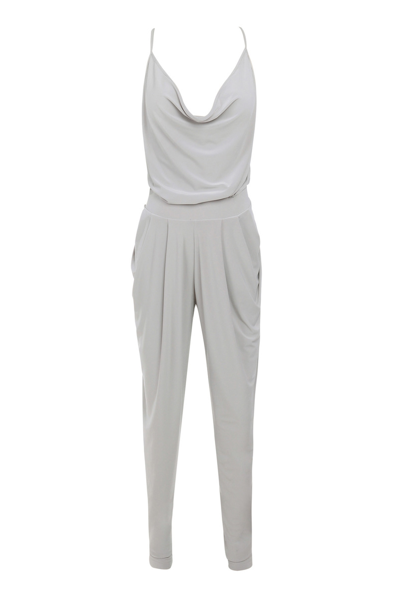 Farrah Grey Silky Jersey Drape Jumpsuit
