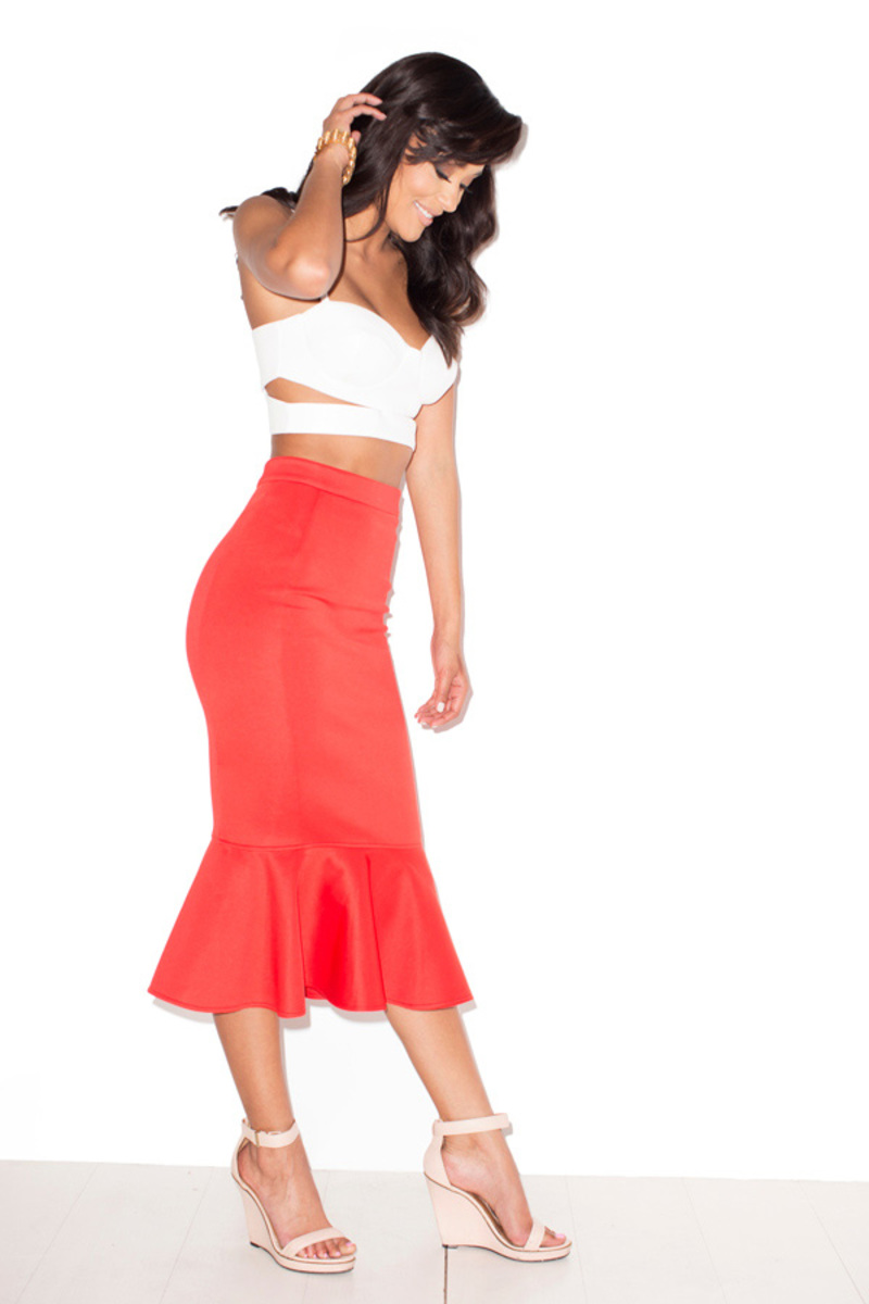 Laila red pencil skirt