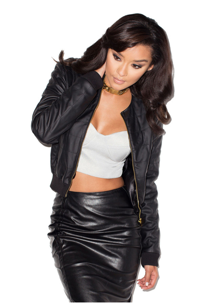 First Base Black Leatherette Quilted Bomber Jacket
