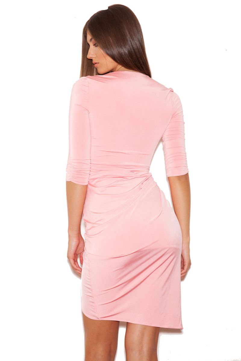Draped All Over bodycon dress in pink