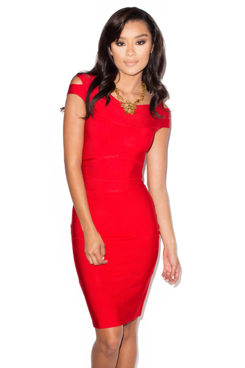 Scarlett Red Off Shoulder Bandage Dress