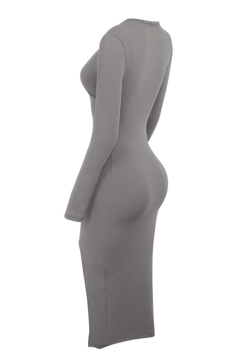 taupe bodycon dress