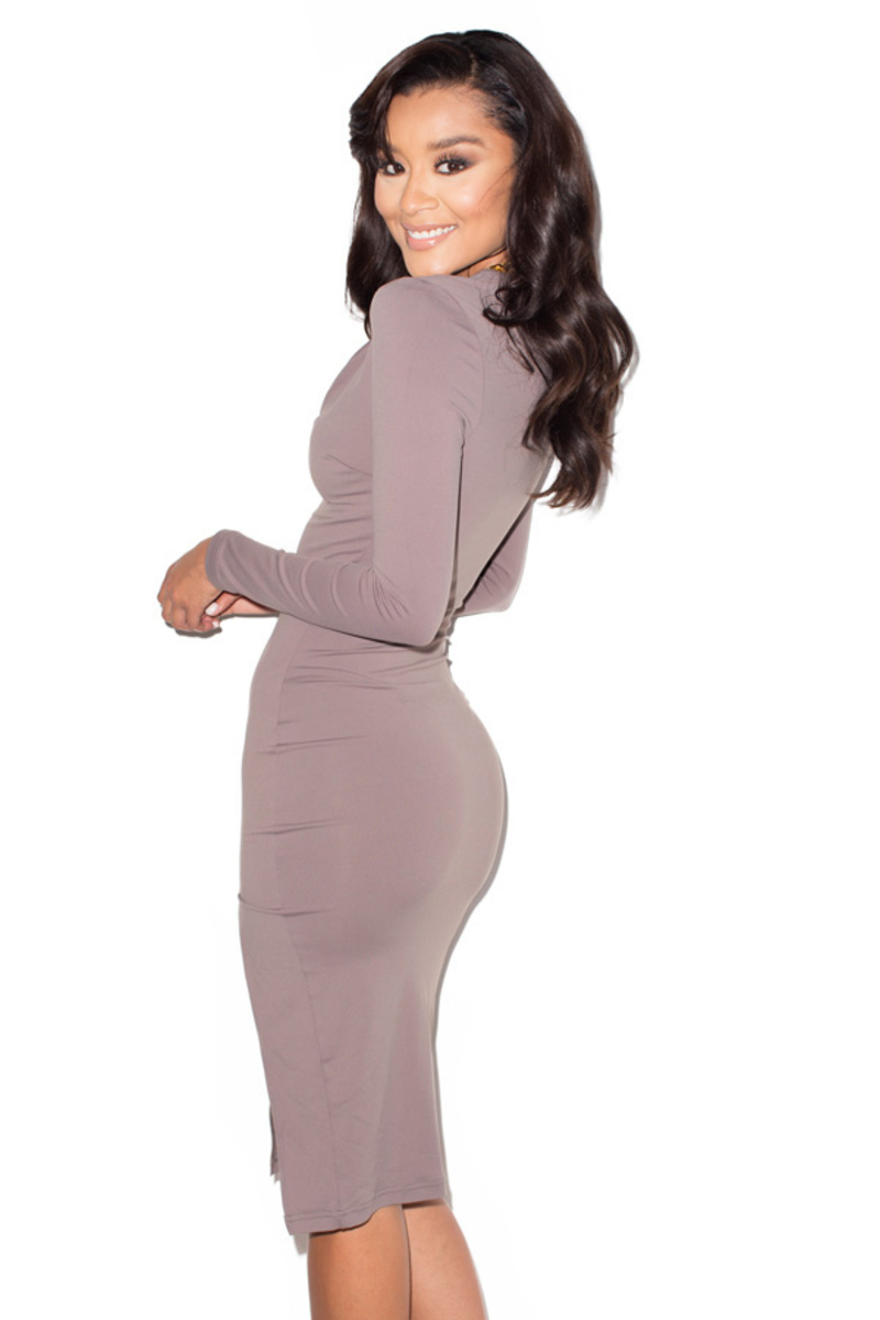 sky high taupe bodycon dress