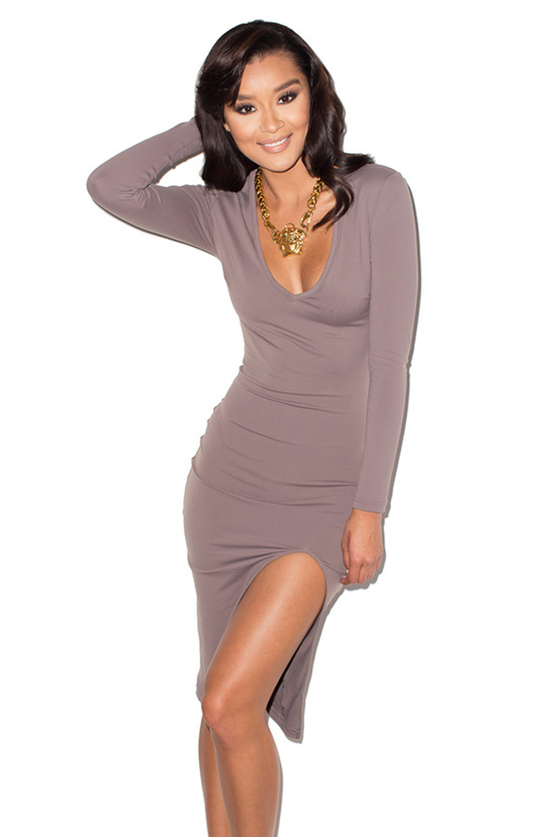 Sky-High Taupe Thigh Split Bodycon Midi dress