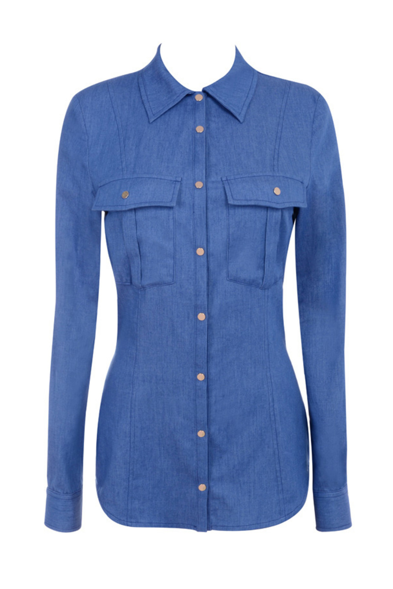 the tomboy denim shirt in blue