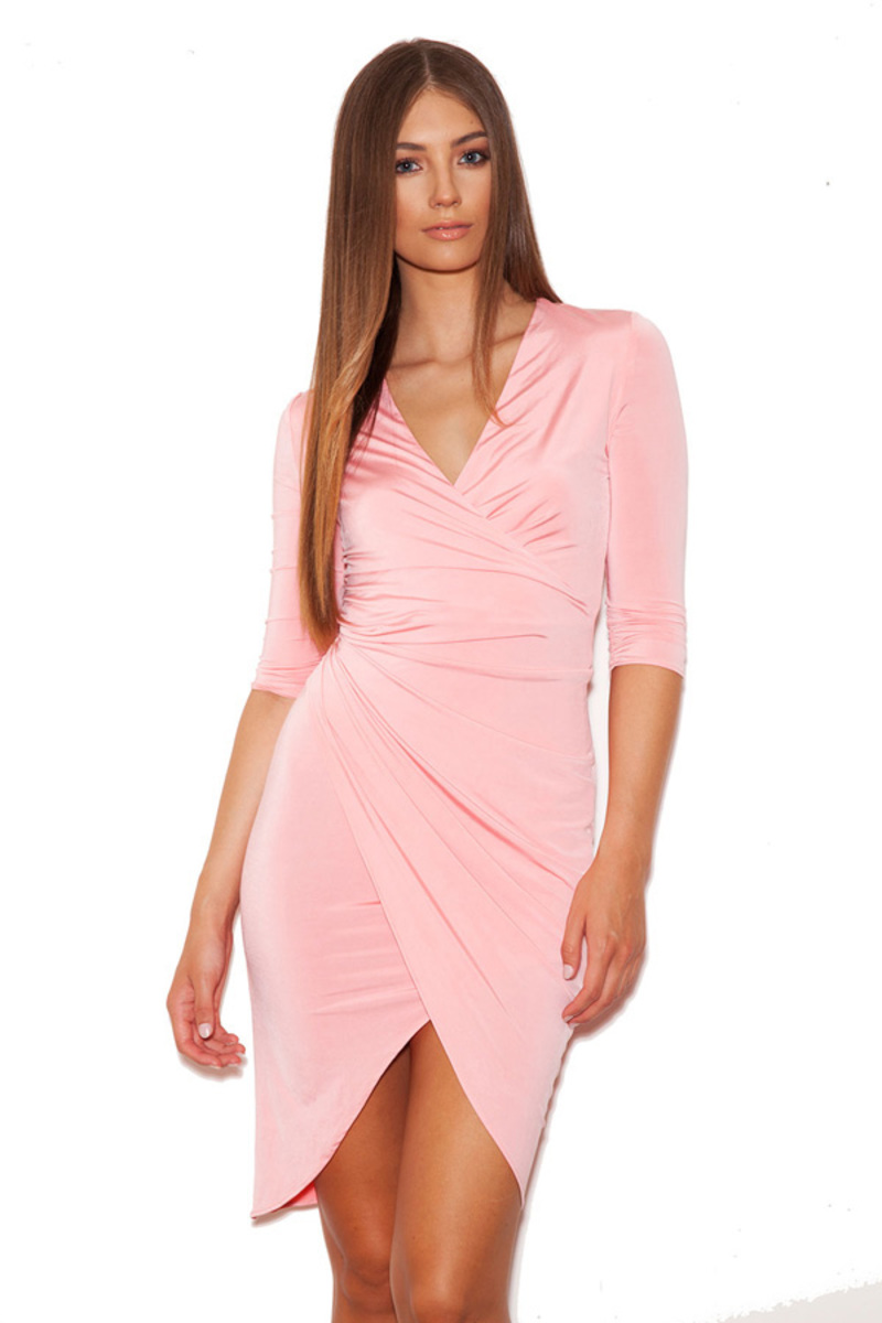 Draped All Over Pink Bodycon Dress