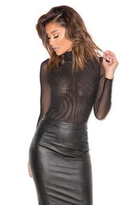 Moulin Black Sheer Mesh Bodysuit