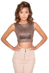 So Fly Chocolate Cropped Suedette Top