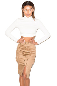 Vibes Camel Lace-Up Pencil Skirt
