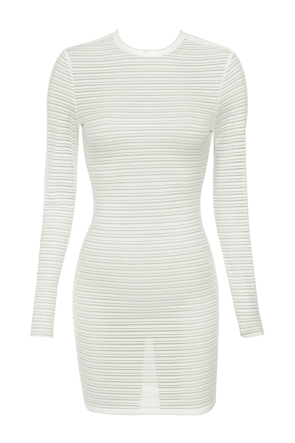 Angel White Self Stripe Mini Dress