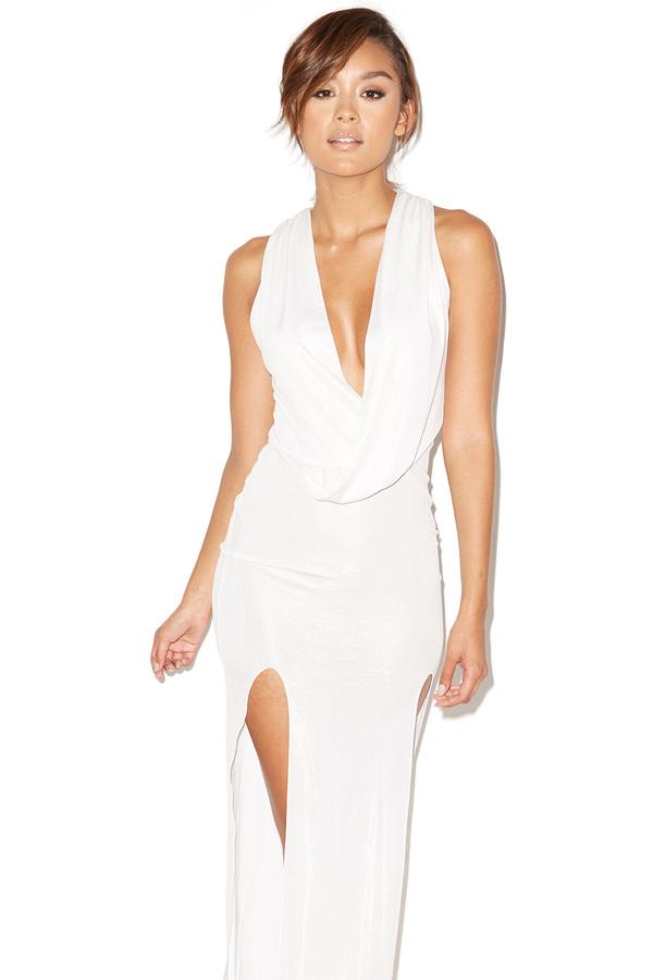 Ciao Bella Silver Draped Maxi Dress