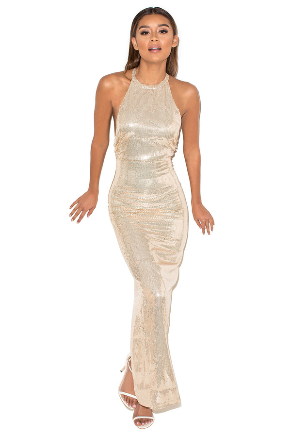After Party Metallic Nude Sequin Maxi Dress