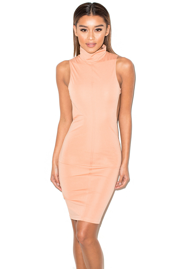 Bae-B Peach Backless Dress