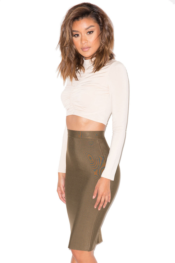 Bad Gal Nude Silky Jersey Cropped Top