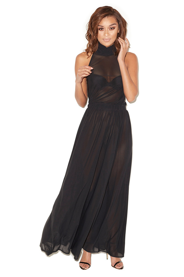 Bare Black Sheer Mesh Halter Maxi Dress