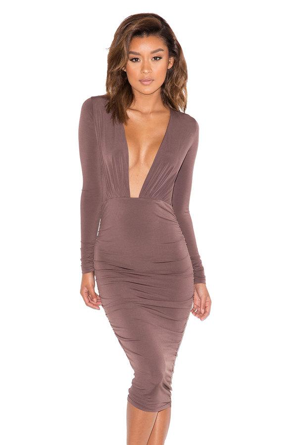 Dangereus Chocolate Deep V Silky Jersey Dress