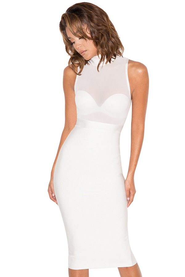 Femme Fatale White Bandage and Mesh Dress