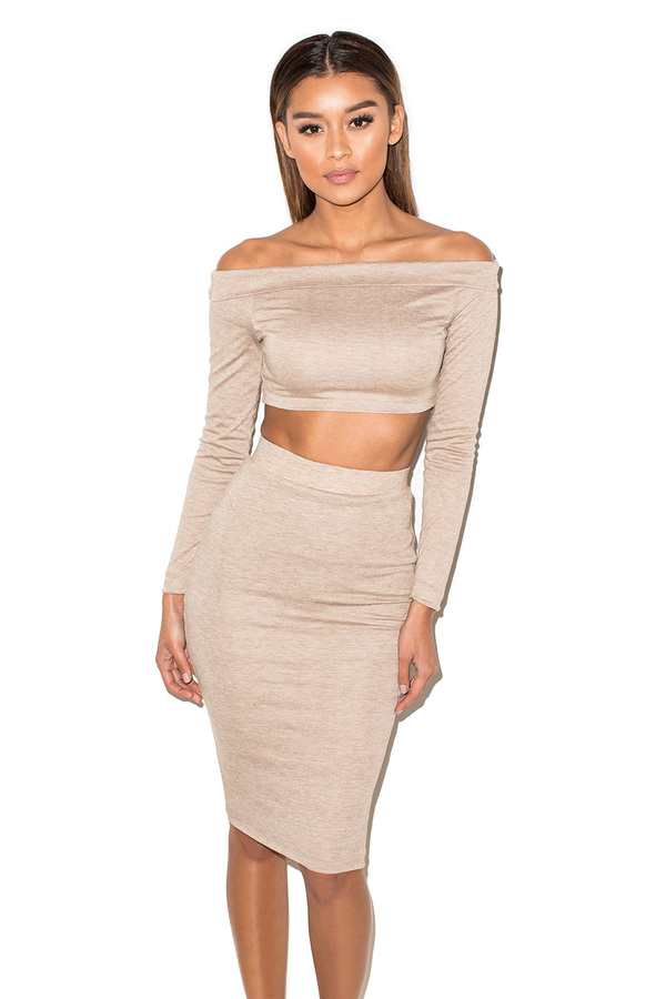 Flash Dance Tan Marl Off Shoulder Two Piece Set