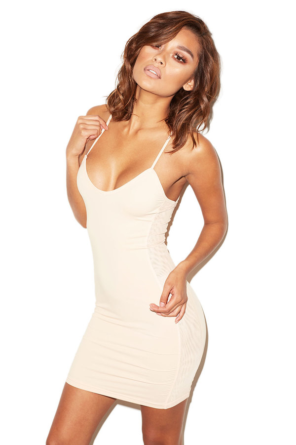 Get Gone Nude Mesh and Silky Jersey Mini Dress