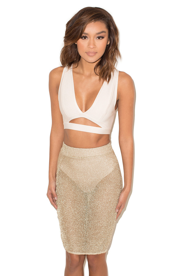 Hip Service Gold Knitted Lurex Sheer Skirt and Shorties